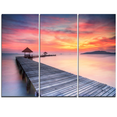 Designart Stylish Wooden Bridge And Beach Sky PierTriptych Canvas Art Print