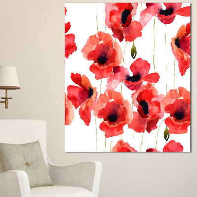 Designart Stylized Poppy Flowers Illustration Floral Canvas Art Print