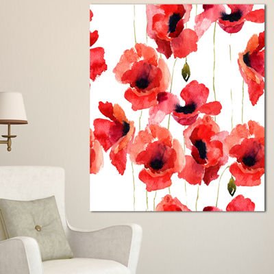 Designart Stylized Poppy Flowers Illustration Floral Canvas Art Print - 3 Panels