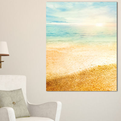 Designart Summer Beach View With Fine Gold Sand Modern Seascape Canvas Artwork