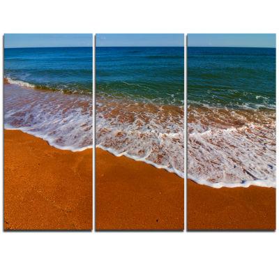 Designart Summer Beach With White Waves Modern Beach Triptych Canvas Art Print
