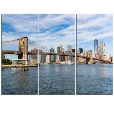 Designart Summer Day Brooklyn Bridge Cityscape Triptych Canvas Print