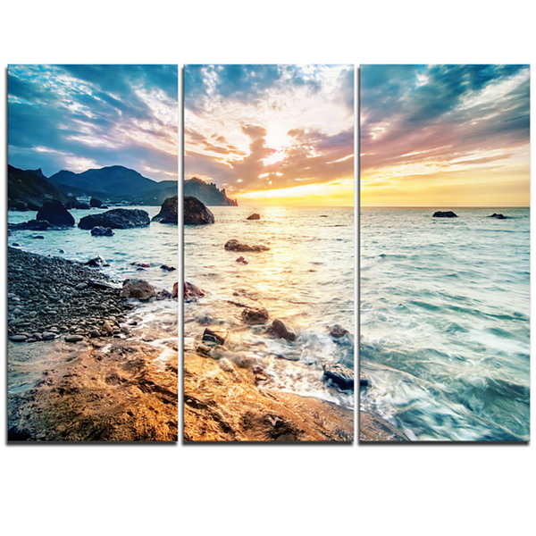 Designart Summer Sea With Mountains And Waves Seashore Triptych Canvas Art Print