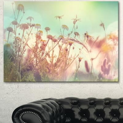 Designart Summer Wild Flowers And Grass Large Flower Canvas Wall Art - 3 Panels
