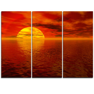 Designart Sun Falling To Yellow Ocean Large Seashore Triptych Canvas Print