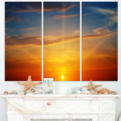 Designart Sunlight In Sky Above Horizon OversizedBeach Triptych Canvas Artwork
