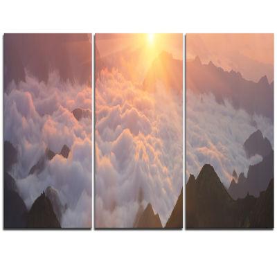 Designart Sunlight Over Heavy Fog Panorama Contemporary Landscape Triptych Canvas Art