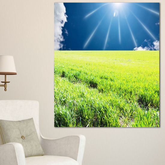 Designart Sunny Field With Green Grassland Oversized Landscape Canvas Art