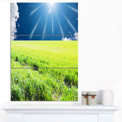 Designart Sunny Field With Green Grassland Oversized Landscape Canvas Art - 3 Panels