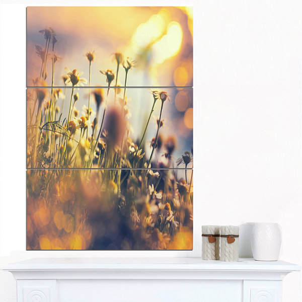 Designart Sunny Meadow Flowers And Grass Large Flower Canvas Art Print - 3 Panels