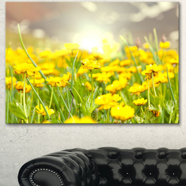 Designart Sunny Meadow With Yellow Flowers FloralCanvas Art Print