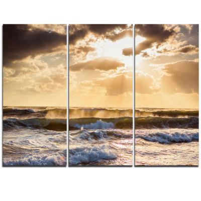 Designart Sunrise And Roaring Blue Sea Waves BeachPhoto Triptych Canvas Print