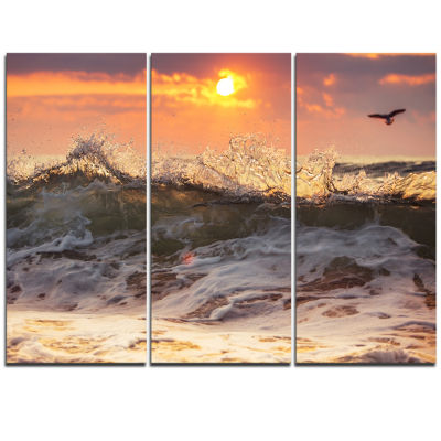 Designart Sunrise And Roaring Ocean Waves SeascapeTriptych Canvas Art Print