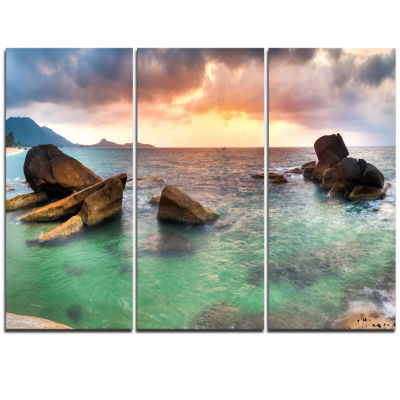 Designart Sunrise At Blue Lamai Beach Extra LargeSeashore Triptych Canvas Art