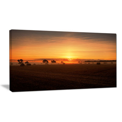 Designart Sunrise At Farmland Bales Landscape Artwork Canvas