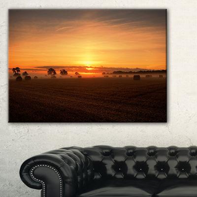 Designart Sunrise At Farmland Bales Landscape Artwork Canvas