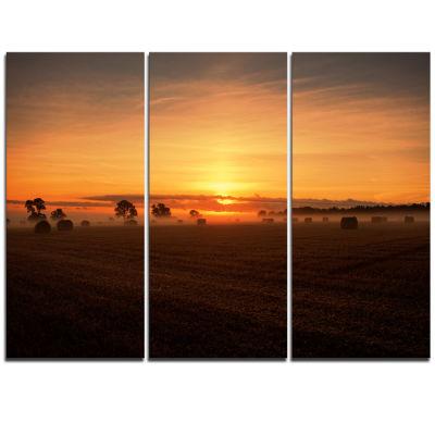 Design Art Sunrise At Farmland Bales Landscape Artwork Triptych Canvas