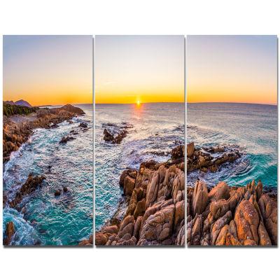 Designart Sunrise At Freycinet Np Beach LandscapeTriptych Canvas Art Print