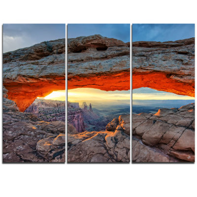 Designart Sunrise At Mesa Arch In Canyon Lands Large Flower Triptych Canvas Wall Art