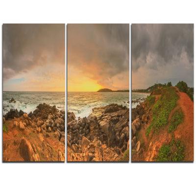 Designart Sunrise At Romantic Beach At Sri LankaLandscape Artwork Triptych Canvas