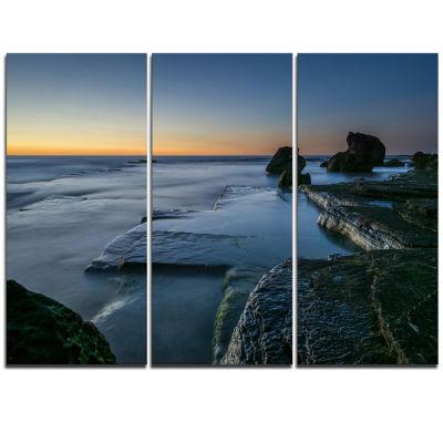 Designart Sunrise At Sydney Seashore Seascape Triptych Canvas Art Print