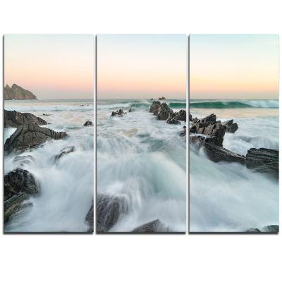 Designart Sunrise At The Bay Of Biscay Modern Beach Triptych Canvas Art Print