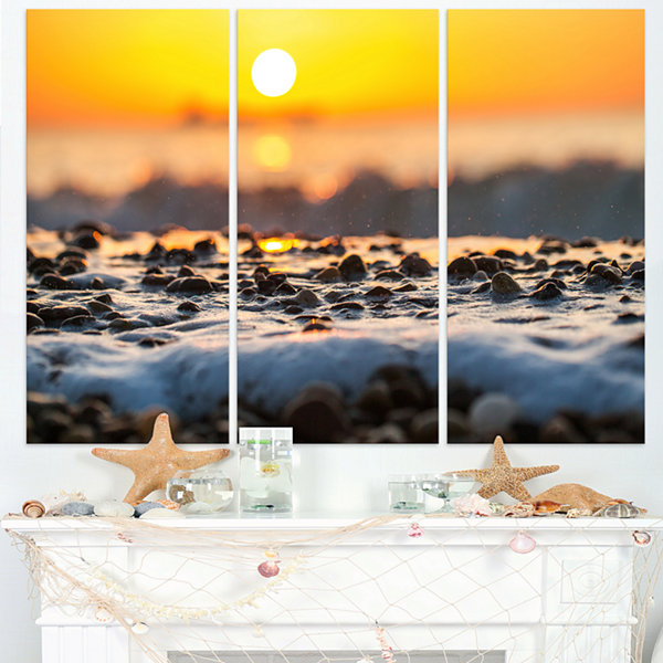Designart Sunrise Giving Color For Sea Waters Seascape Triptych Canvas Art Print