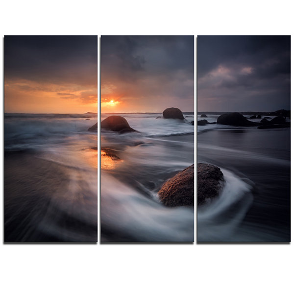 Designart Sunrise In Burgas Bay Near Atia SeashoreTriptych Canvas Art Print