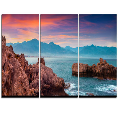 Designart Sunrise On Barbor Milazzo Panorama Landscape Print Wall Artwork