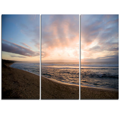 Designart Sunrise Over Indian Ocean Waters Seascape Triptych Canvas Art Print