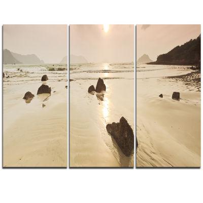 Designart Sunrise Over Rocky Sea Panorama Modern Seashore Triptych Canvas Art