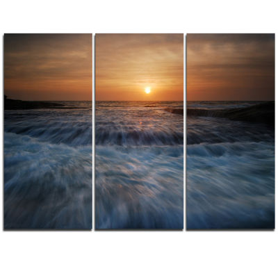 Designart Sunrise Over Rushing White Waves ModernBeach Triptych Canvas Art Print
