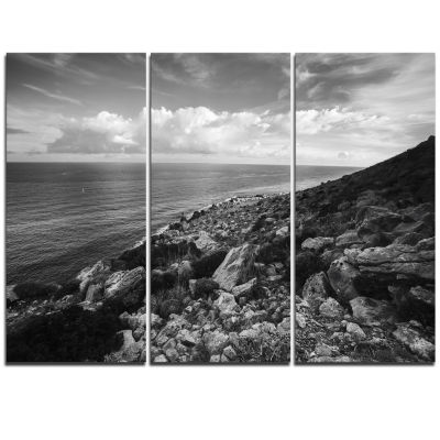 Designart Sunrise Over Sicily Black And White Beach Photo Triptych Canvas Print