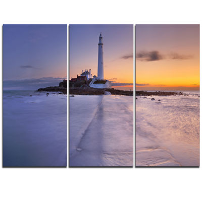 Designart Sunrise Over St. Mary S Lighthouse Modern Seascape Triptych Canvas Artwork