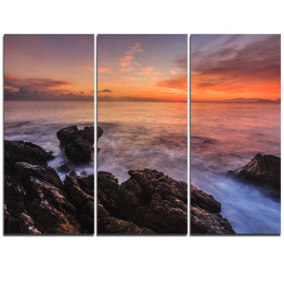 Designart Sunrise Over The Coast Of Sicily Beach Photo Triptych Canvas Print