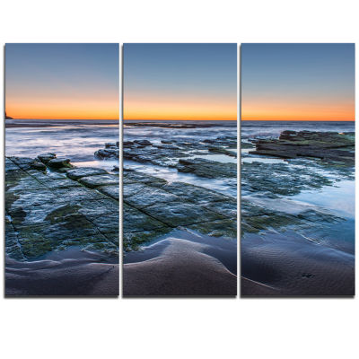 Designart Sunrise Over Wide Sydney Ocean Large Seashore Triptych Canvas Print