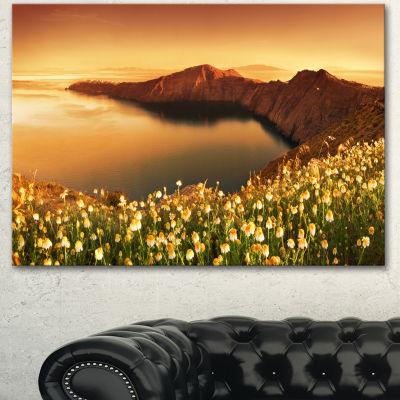 Designart Sunrise Wildflowers On Santorini FloralCanvas Art Print