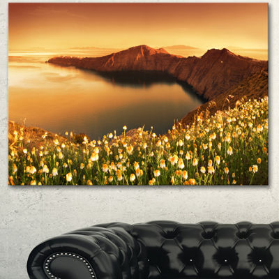 Designart Sunrise Wildflowers On Santorini FloralCanvas Art Print - 3 Panels