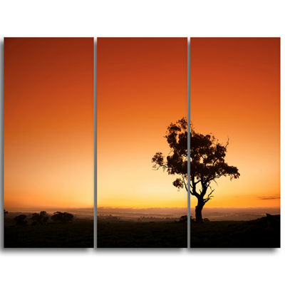 Designart Sunrise With Lonely Tree Extra Large Wall Art Landscape
