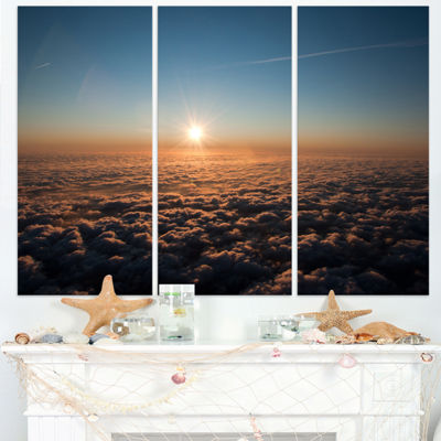Designart Sunset Above The Dark Clouds OversizedBeach Triptych Canvas Artwork