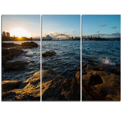 Designart Sunset At Opera House Sydney Large Seashore Triptych Canvas Print