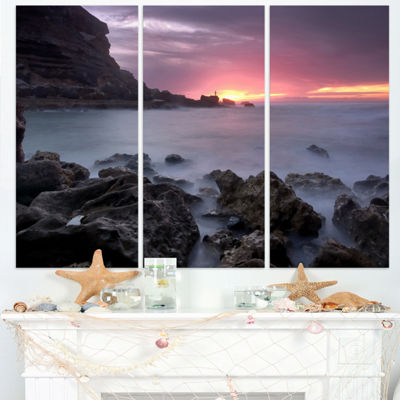 Designart Sunset At Samarra Seashore Sintra Seashore Triptych Canvas Art Print