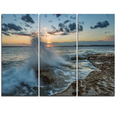 Design Art Sunset At Sydney Seashore Seascape Triptych Canvas Art Print
