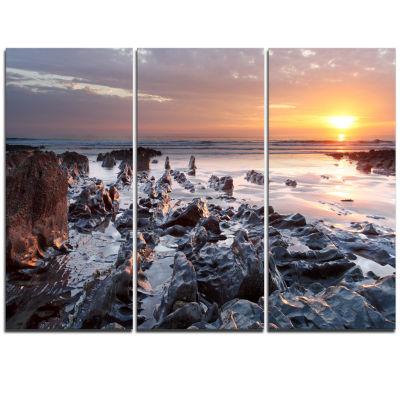 Designart Sunset At Woolacombe Bay Devon Uk LargeSeashore Triptych Canvas Print