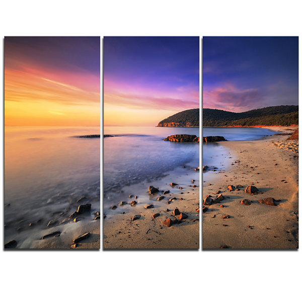 Designart Sunset In Cala Violina Bay Beach Extra Large Seashore Triptych Canvas Art