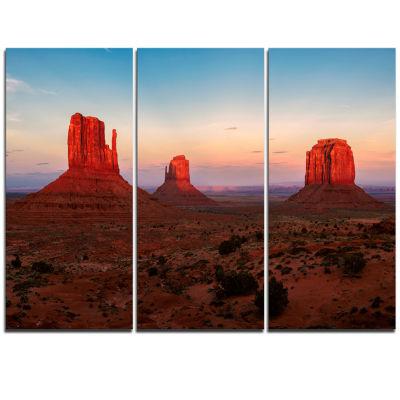 Designart Sunset In Monument Valley Landscape Triptych Canvas Art Print
