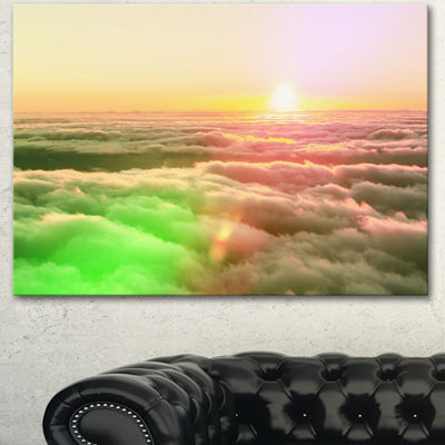 Designart Sunset On Hills Above Clouds Landscape Canvas Art Print - 3 Panels