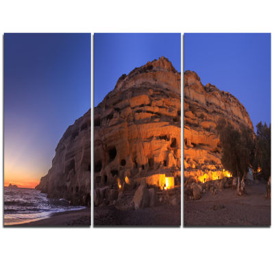 Design Art Sunset On The Matala Beach Greece Seashore Triptych Canvas Art Print