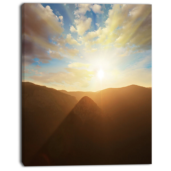 Designart Sunset Over Gloomy Mountains African Landscape Canvas Art Print