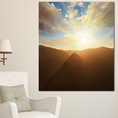 Designart Sunset Over Gloomy Mountains African Landscape Canvas Art Print - 3 Panels